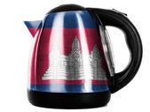 Cambodia flag painted on shiny metallic kettle — Stock Photo