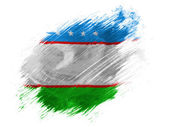 Uzbekistan flag painted with brush on white background — Stock Photo