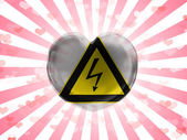 Electric shock sign painted on glass heart on stripped background — Stock Photo