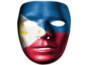 Philippine flag painted on theater plastic mask — Stock Photo