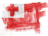 Tonga flag painted with watercolor on paper — Stock Photo