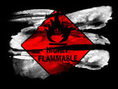 Highly flammable sign drawn on painted on black textured paper with watercolor — Stock Photo