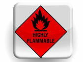 Highly flammable sign drawn on painted on glossy icon — Stock Photo