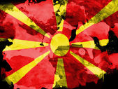 Macedonia flag painted with watercolor on black paper — Stock Photo