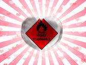 Cam kalbi sökülen arka plan üzerinde son derece yanıcı işareti çizilmiş boyalı — Stok fotoğraf