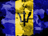 Barbados. Barbadian flag painted with watercolor on black paper — Stock Photo