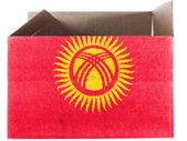 Kyrgyzstan flag painted on carton box or package — Stock Photo
