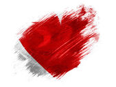 Red Heart symbol painted on painted with brush on white background — Stock Photo