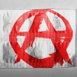 Anarchy symbol painted n painted on pills - Stock Photo