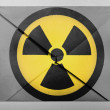 Stock Photo: Nuclear radiation symbol painted on painted on grey envelope