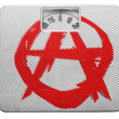 Stock Photo: Anarchy symbol painted n painted on balance