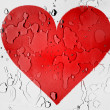 Red Heart symbol painted on covered with water drops — Stock Photo