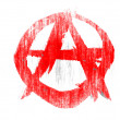 Stock Photo: Anarchy symbol drawn on white background with colored crayons