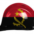 Angola. Angolan flag  painted on safety helmet - Stock Photo