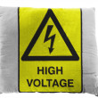 High voltage sign painted on pillow — Stock Photo