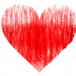 Stock Photo: Red Heart symbol drawn on white background with colored crayons