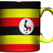 Uganda flag  painted on coffee mug or cup — Stock Photo
