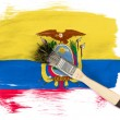 Ecuador flag  painted with brush over it — Stockfoto