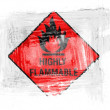 Stok fotoğraf: Highly flammable sign drawn on painted with watercolor on paper