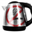 Stock Photo: No smoking sign painted on shiny metallic kettle