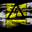 High voltage sign painted on black textured paper with watercolor — Stock Photo