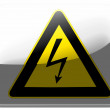 Electric shock sign   painted on square interface icon - Stock Photo