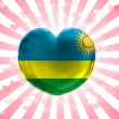 Ruanda flag  painted on glass heart on stripped background - Stock Photo