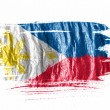 Philippine flag  painted with watercolor on wet white paper — Stock Photo
