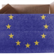 Europe Union flag painted on carton box or package — Stock Photo