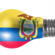 Ecuador flag  painted on lightbulb - Stockfoto