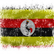 Uganda flag  on white background - Stok fotoğraf