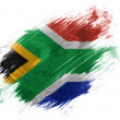 South African flag painted with brush on white background - Stok fotoğraf