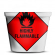 Highly flammable sign drawn on — Stockfoto
