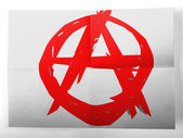 Anarchy symbol painted on simple paper sheet — Stock Photo
