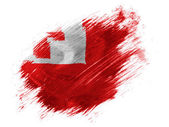 Tonga flag painted with brush on white background — Stock Photo