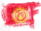 Kyrgyzstan flag painted with watercolor on paper — Stock Photo