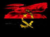 ангола. ангольских флаг окрашены на черный текстурированной бумаге с акварелью — Стоковое фото