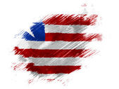 Liberia. Liberian flag painted with brush on white background — Stock Photo