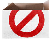 Forbidden sign painted on carton box or package — Stock Photo