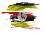 Uganda flag painted on white surface — Stock Photo
