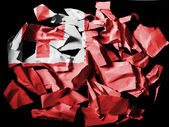 Tonga flag painted on pieces of torn paper on black background — Stock Photo