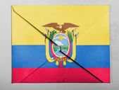 Ecuador flag painted on grey envelope — Stock fotografie