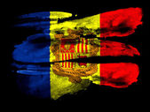 Andorra flag painted on black textured paper with watercolor — Stock Photo