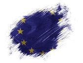 Drapeau de l'union europe peints sur peint avec le pinceau sur fond blanc — Photo