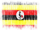 Bandera de uganda dibujado sobre fondo blanco con lápices de colores — Foto de Stock