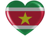 Surinamese flag painted on glossy heart icon — Stock Photo
