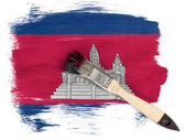 Cambodia flag painted with brush over it — Stock Photo