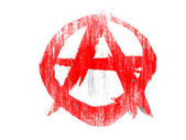 Anarchy symbol drawn on white background with colored crayons — Stock Photo