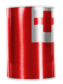 Tonga flag painted on shiny tin can — Stock Photo