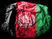 Drapeau de l'afghanistan, peinte sur papier froissé sur fond noir — Photo